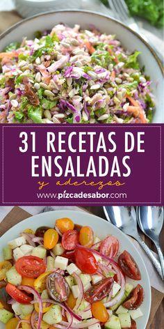 31 recetas de ensaladas y aderezos. Lunch Recipes, Gourmet Recipes, Salad Recipes, Vegetarian Recipes, Dinner Recipes, Cooking Recipes, Healthy Recipes, Healthy Snacks, Healthy Eating