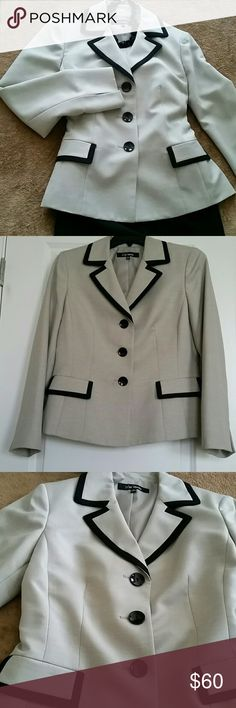 Classic Jacket NWOT Want that Sophisticated look?.. Here it is..Dress for where your going. This is ready for the Boardroom.  Very neutral color with Black trim, beautifully lined & ready to pair with a dress, a skirt or slacks. 100 % POLYESTER. Le Suite Seperates Jackets & Coats Blazers