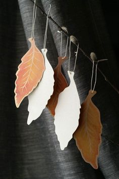Fall Elm Leaf Tags - Hand cut prints of original watercolor leaves-wedding events and wishing trees Nature Crafts, Fall Crafts, Crafts For Kids, Arts And Crafts, Diy Crafts, Paper Art, Paper Crafts, Watercolor Leaves, Wedding Events