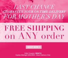 Avon free shipping on ANY order! Re-pin and share the love. =) Use code: MDAY14 at http://eseagren.avonrepresentative.com #avon #freeshipping #mothersdaygifts