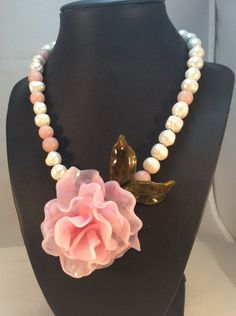 Lampwork+and+Pearl+necklace+by+coldhoneyartglass+on+Etsy