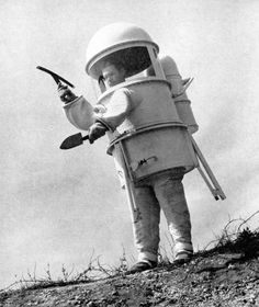 With the onset of the space race in the late 1950s, the U.S. government made huge amounts of money available for aerospace innovation. Moon suit designs poured in, some less than practical that others. This awesome man-can prototype was designed with three extendable legs, so that the astronaut could pull his legs back into the capsule to rest.