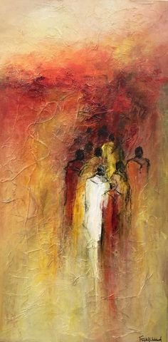 "L'Exode by Françoise Angibaud do something similar, I like the title, ""Exodus"" Abstract Portrait, Abstract Art, Encaustic Art, People Art, Figure Painting, African Art, Figurative Art, Painting Inspiration, Amazing Art"