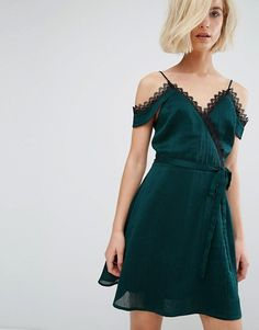 J.O.A   J.O.A Cold Shoulder Cami Slip Dress With Lace Wrap Front