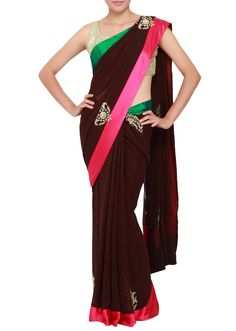 Featuring a wine saree in georgette embellished with kardana work only on Kalki - Kalkifashion.com