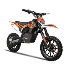 The MotoTec electric dirt bike is a fun ride for anyone ages 12 and up. The dirt bike features all the necessities, like front and rear suspension, brakes and three selectable speeds. The orange color