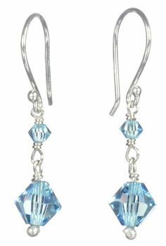 Sterling Silver Crystallized Swarovski Elements Bicone 3mm and 6mm in March Birthstone Aquamarine Color Drop Earrings -