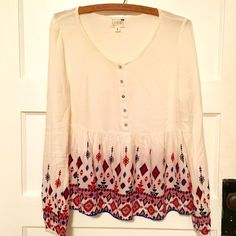 Aztec Peasant Top Super cute for Spring!  Half button down. Peplum bottom. LA Hearts Tops Blouses