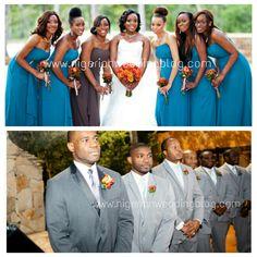 Bridal party color co-ordination ideas
