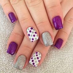 #gelnails in purple, silver and white with #polkadots #nailsbydesiree