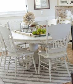Another Table. - Start at Home Decor : Chalk painted dining room table with a drop cloth rug Painted Dining Room Table, Kitchen Table Makeover, Oak Table, Dining Room Chairs, Dining Table, Side Chairs, Chalk Paint Dinning Table, Shabby Chic Kitchen Table And Chairs, Oak Chairs