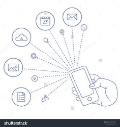 Demonstration Screen Mobile Phone. Presentation Icon Set For Market. Cloud Technologies, Services, Program For Market. Social Networking, Media, Technologies, Emails And Set Trends On Touch Smartphone Stock Vector Illustration 332978420 : Shutterstock