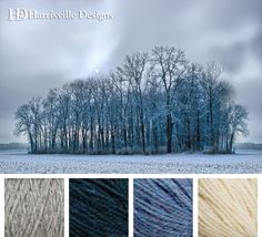 Winter sky and trees, cool color scheme using Harrisville Designs yarn in Silvermist, Loden Blue, Cornflower, and White.