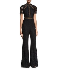 Claudel+Short-Sleeve+Lace+Jumpsuit,+Black+by+Alexis+at+Bergdorf+Goodman.