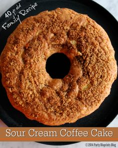 Sour Cream Coffee Cake: 40 yr old Family Recipe.  Easy to make and so moist!