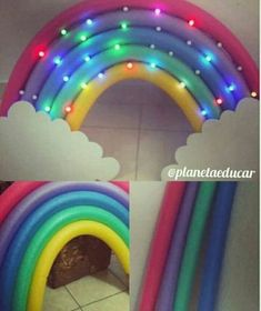 Para uma pool party -Pool noodle rainbow with lights An intricate but REALLY fun-looking display or library decoration idea. Original pin from Planeta Educar (Angola) Trolls Birthday Party, Troll Party, Unicorn Birthday Parties, Diy Rainbow Birthday Party, Kids Birthday Party Ideas, Rainbow Unicorn Party, Birthday Balloons, Preteen Birthday Parties, Kids Birthday Crafts