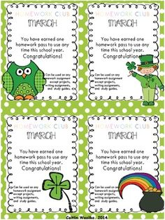 HOMEWORK CLUB & PASSES - 8 different pass designs for each month of the school year! Awesome! TeachersPayTeachers.com