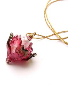 Lampwork Flower Necklace Fuchsia Pink Glass Rose by silviaizkovich, $39.99