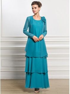 A-Line/Princess Scoop Neck Ankle-Length Chiffon Mother of the Bride Dress (008056828) - JJsHouse