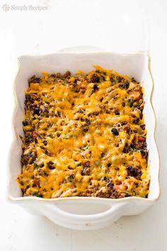 Turkey Black Bean Quinoa Bake ~ Easy cheesy quinoa bake with black beans, corn, garlic, shredded cooked turkey, and lots of cheddar cheese! ~ SimplyRecipes.com