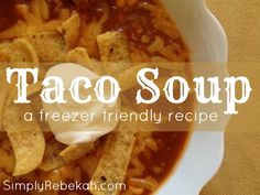 This taco soup recipe is kid friendly, impressive enough to serve to guests, and it is a great freezer meal. It is one of my favorites!