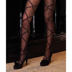 Electric Lingerie Black Diamond Link Tights ($8.99) ❤ liked on Polyvore featuring intimates, hosiery, tights and lingerie stockings