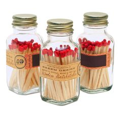 Beautiful matches in fabulous packaging?! Yes please. A mini version of the best-selling larger sized match bottle. This square apothecary match bottle stores 40, 2″ matches, each with a colorful red tip. Safe from water splashes and pretty enough to showcase on your mantel. The strike-on-bottle design is truly unique and is great for camping, …
