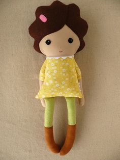 Reserved for DeeDee - Fabric Doll Rag Doll Girl in Yellow Dress. $34.00, via Etsy.