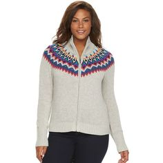 Plus Size Chaps Fairisle Full-Zip Mockneck Sweater ($65) ❤ liked on Polyvore featuring plus size women's fashion, plus size clothing, plus size tops, plus size sweaters, pink ovrfl, plus size, womens plus sweaters, plus size white tops, plus size white sweater and plus size long sleeve tops