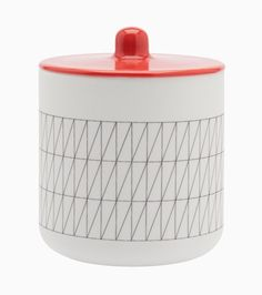 CMF we like / Container / Red Lid / ceramic / Line Print / at leManoosh