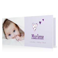 Geburtskarte Punkteherz in Pastellviolett - Klappkarte flach lang #Geburt #Geburtskarten #Mädchen #Foto #modern https://www.goldbek.de/geburt/geburtskarten/maedchen/geburtskarte-punkteherz?color=pastellviolett&design=6e114&utm_campaign=autoproducts