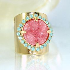 Womans Gift, Pink Stone Ring, Druzy, Gift For Her, Druzy Ring, Cocktail Ring, Wide Band Ring, Druzy Jewelry, Statement Ring By Inbal mishan. Beautiful colors combination of pink druzy and mint opal Swarovski rhinestones. * Soft & romantic with statement.* ♣ Gemstone - pink mineral druzy