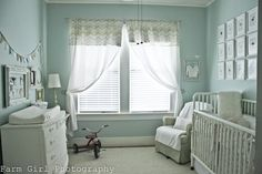 boy nursery: love the muted colors, but invert color (white walls) maybe muted drawer pulls for a pop on white furniture? @Kate Kootstra