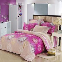 かわいいピンクタンポポスタイルプリティコットン4ピース寝具セット
