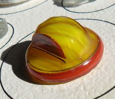 Yellow Marbled Glass with Paint Antique Button - by JuliaFineGoods on Etsy Marble, Buttons, Yellow, Antiques, Glass, Ethnic Recipes, Painting, Etsy, Food