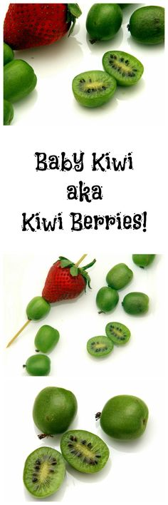 """Baby Kiwi Fruit, also known as Kiwi Berries, are the """"it"""" fruit of the moment. They're grape-sized, more delicate, tender and hairless! You pop the whole tiny fruit into your mouth. Low Sugar Recipes, Fruit Recipes, Baby Food Recipes, Dessert Recipes, Healthy Junk, Healthy Snacks, Healthy Recipes, Fruit Dishes, Eat Fruit"""