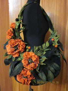 """Купить Сумка """" Маки"""" - рыжий, цветочный, сумка ручной работы, валяная сумка"""