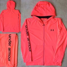 NEW UNDER ARMOUR Full Zip Yoga Workout Running Hoodie Stretch Jacket Neon Pink #Underarmour #CoatsJackets