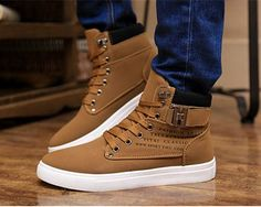 2014 New Zapatos de Hombre Mens Fashion Spring Autumn Leather Shoes Street Men's Casual Fashion High Top Shoes Canvas Sneakers US $32.98 #MensFashionSpring