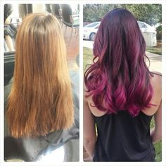 Before And After Pravana Vivids Wild Orchid Red Purple Burgundy Magenta