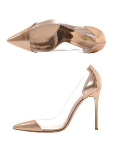 Gianvito Rossi rose gold and PVC pumps