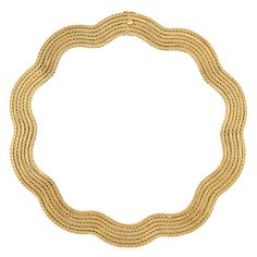 Gold Necklace, Mario Buccellati   18 kt., composed of six undulating rows of finely engraved herringbone links, signed M. Buccellati, approximately 84.5 dwts. Length 17 inches.