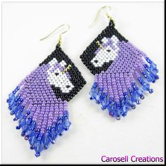 Perlage de licorne en violet et bleu Dangle graine par carosell