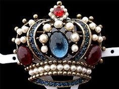High End Signed Weiss Crown Heraldic Red Blue Rhinestone Gold Brooch Vintage