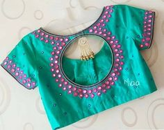 Beautiful mirror work Blouse Designed by Designer Blouse Ideas . Tag your picture with… Beautiful mirror work Blouse Designed by Designer Blouse Ideas . Tag your picture with… Cutwork Blouse Designs, Pattu Saree Blouse Designs, Simple Blouse Designs, Stylish Blouse Design, Blouse Neck Designs, Blouse Patterns, Back Neck Designs, Blouse Styles, Mirror Work Saree Blouse