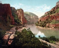 """""""Echo Cliffs, Grand River Canyon, Colorado."""" Photochrom print published in 1914 from a glass negative taken many years earlier by William Henry Jackson, whose Western views, developed in his railcar-darkroom, formed the basis of Detroit Photographic's holdings in the company's early years"""