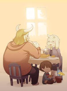 Asgore, Toriel, and Frisk