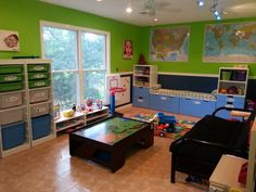 Our playroom: IKEA Stuva and Trofast storage for the big stuff, closet shoe shelves for toddler-height toys
