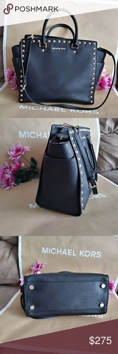 Authentic Michael kors Studded tote bag purse Michael kors Large selma. Studded purse handbag shoulder bag tote  crossbody . Used few times very good condition Very rare  COLOR : Black w/gold studs hardware  Size 13.5 x 10 x 7         PLS ck out my other listings ty. Michael Kors Bags Shoulder Bags