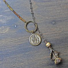 Artisan lariat necklace rustic handmade jewelry by